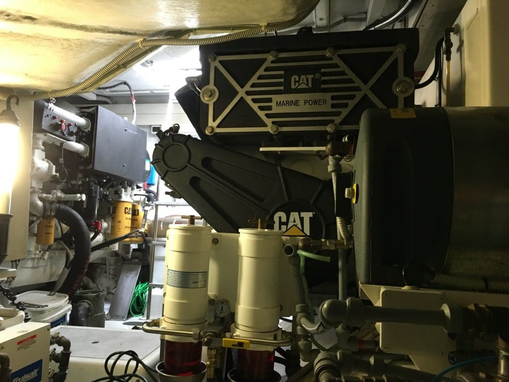 Freshly cleaned engine room to get rid of diesel odor in boat