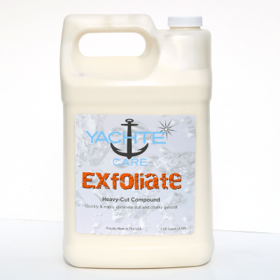 Heavy cut boat compound with diminishing abrasives to cut and polish and leave your boat with no oxidation