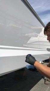 To apply ceramic coating to your boat you must first apply 10-15 drops to an applicator pad