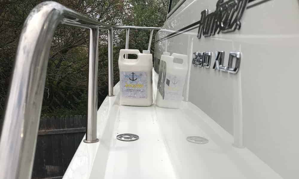 Sunscreen is a durable boat wax or polymer sealant that is easy to apply and remove from your boats gelcoat.